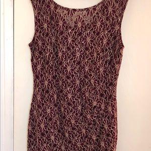 Burgundy/Gold Floral Lace Sequin Dress